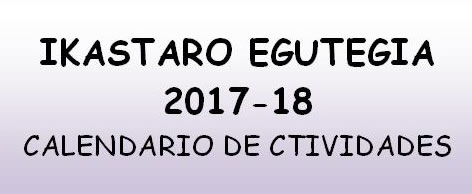Calendario de las actividades de 2017-2018