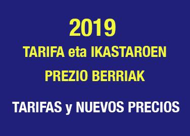 2019ko tarifa eta ikastaroen prezio berriak